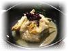 Baccalà mantecato, crema di carciofi e carciofi alla scapece, olive taggiasche, riso venere soffiato